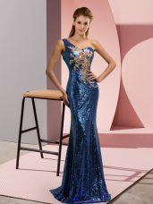 Beading and Appliques Homecoming Dress Blue Lace Up Sleeveless Sweep Train