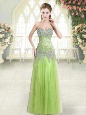 Sweetheart Sleeveless Prom Dress Floor Length Beading Yellow Green Tulle