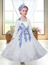 A-line Flower Girl Dresses White Straps Lace Sleeveless Ankle Length Zipper