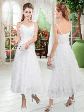 White Zipper Straps Sleeveless Tea Length Prom Dress Ruffles