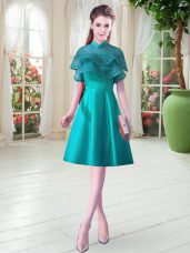 Teal Lace Up High-neck Ruffled Layers Homecoming Dress Satin Cap Sleeves
