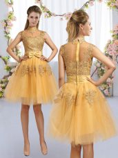 Customized Lace and Bowknot Quinceanera Court Dresses Gold Zipper Cap Sleeves Knee Length
