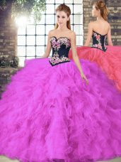 Suitable Floor Length Ball Gowns Sleeveless Fuchsia Sweet 16 Quinceanera Dress Lace Up