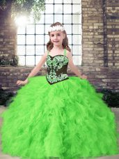 Pageant Dresses Party and Wedding Party with Embroidery and Ruffles Straps Sleeveless Lace Up