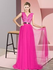 Sweep Train Empire Prom Dress Fuchsia V-neck Tulle Sleeveless Zipper
