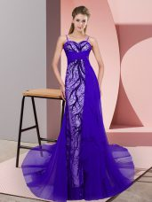 Zipper Party Dress for Girls Purple for Prom and Party with Beading and Lace Sweep Train