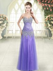 Hot Selling Floor Length Lavender Prom Party Dress Tulle Sleeveless Beading