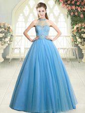 Sleeveless Floor Length Beading Zipper Evening Dress with Blue