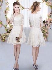 Romantic Champagne A-line V-neck Half Sleeves Lace Mini Length Zipper Belt Dama Dress for Quinceanera