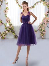 Purple Sleeveless Tulle Zipper Wedding Guest Dresses for Prom and Party