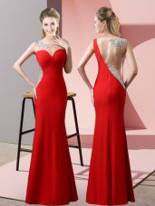 Free and Easy Red Sleeveless Beading and Pick Ups Floor Length Prom Gown