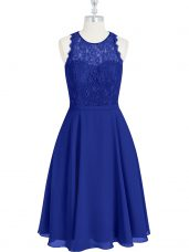 Classical A-line Prom Evening Gown Royal Blue Scoop Chiffon Sleeveless Mini Length Zipper