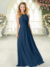 Affordable Scoop Sleeveless Custom Made Floor Length Ruching Navy Blue Chiffon