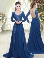 Deluxe Blue Long Sleeves Beading and Lace Zipper Dress for Prom