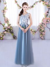 Decent Blue Tulle Lace Up V-neck Sleeveless Floor Length Bridesmaids Dress Lace