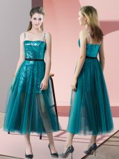Decent Spaghetti Straps Sleeveless Zipper Prom Dresses Teal Tulle