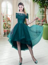 Off The Shoulder Short Sleeves Tulle Prom Evening Gown Lace Lace Up
