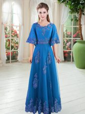 Blue Prom and Party with Lace Scoop Half Sleeves Lace Up