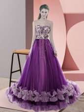 Discount Tulle Sleeveless Prom Gown Sweep Train and Appliques