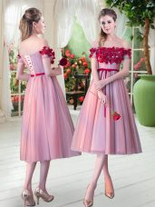 On Sale Sleeveless Tulle Tea Length Lace Up Evening Dress in Pink with Appliques