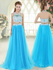 Aqua Blue Two Pieces Lace Prom Dress Zipper Tulle Sleeveless Floor Length