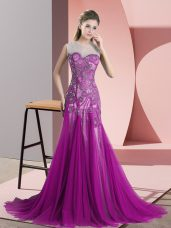Purple Tulle Backless Scoop Sleeveless Prom Dress Sweep Train Beading and Appliques