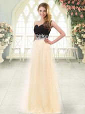 Vintage Sleeveless Zipper Floor Length Appliques Prom Dress