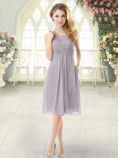Grey Chiffon Zipper Halter Top Sleeveless Knee Length Evening Dress Ruching