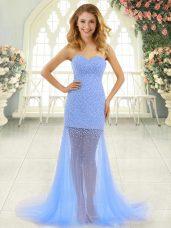 Inexpensive Sweetheart Sleeveless Prom Dresses Brush Train Beading Baby Blue Tulle