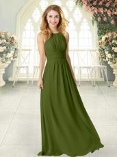 High Quality Floor Length Zipper Prom Party Dress Olive Green for Prom and Party with Ruching