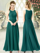 Empire Going Out Dresses Green Scoop Chiffon Sleeveless Ankle Length Zipper