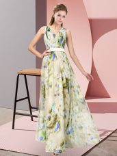 Flirting Sleeveless Printed Floor Length Zipper Prom Dress in Multi-color with Pattern