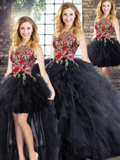 Black Zipper Scoop Sleeveless Floor Length Quinceanera Gown Embroidery and Ruffles