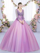 V-neck Long Sleeves Quinceanera Dress Floor Length Lace and Appliques Lilac Tulle