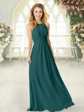 Decent Empire Homecoming Dress Peacock Green Scoop Chiffon Sleeveless Floor Length Zipper