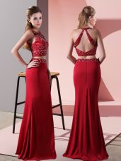 Red Halter Top Backless Beading Evening Dress Sleeveless
