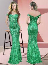 Ruching Prom Dresses Green Zipper Sleeveless Floor Length