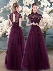 High-neck Short Sleeves Prom Evening Gown Floor Length Beading and Appliques Purple Tulle