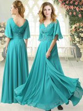 Dynamic V-neck Half Sleeves Prom Dress Floor Length Sweep Train Beading and Lace Aqua Blue Chiffon