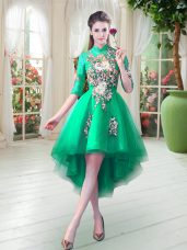 Turquoise Party Dress for Girls Prom and Party with Appliques High-neck Half Sleeves Zipper