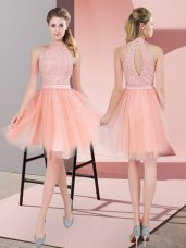 Peach High-neck Neckline Beading Prom Party Dress Sleeveless Zipper