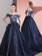 Hot Selling Navy Blue Tulle Lace Up Prom Party Dress Sleeveless Court Train Beading