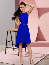 Scoop Sleeveless Lace Up Prom Gown Blue
