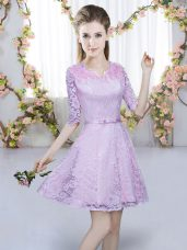 Dazzling Lavender V-neck Zipper Belt Bridesmaid Dress Half Sleeves