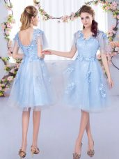 Light Blue Lace Up V-neck Appliques Vestidos de Damas Tulle Short Sleeves