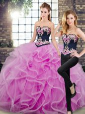 Dazzling Floor Length Lace Up Ball Gown Prom Dress Lilac for Military Ball and Sweet 16 and Quinceanera with Embroidery and Ruffles Sweep Train