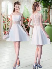 Mini Length White Evening Dress Satin Sleeveless Lace