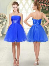 Mini Length Blue Prom Gown Strapless Sleeveless Lace Up