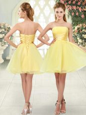 Yellow A-line Strapless Sleeveless Organza Mini Length Lace Up Beading Homecoming Dress