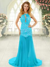 Aqua Blue Prom and Party with Lace Scoop Sleeveless Brush Train Backless